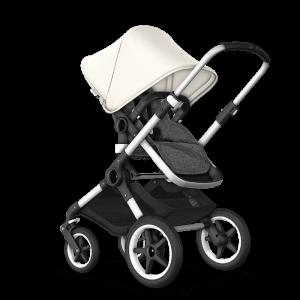 Bugaboo Fox² Complete Pushchair Bundle- Aluminium_Grey Melange_Fresh White