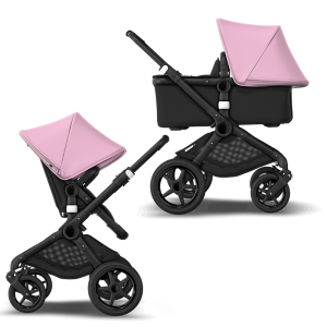 Bugaboo Fox² Complete Pushchair Bundle- Black_Black_Soft Pink