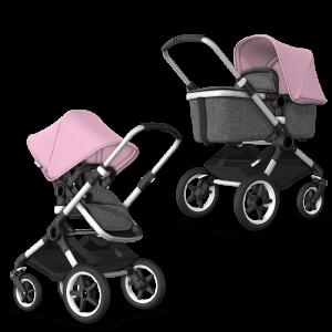 Bugaboo Fox² Complete Pushchair Bundle- Aluminium_Grey Melange_Soft Pink