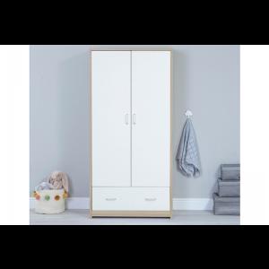 Veni White Oak Room Set 3 PC - Cot Bed, Chest & Wardrobe