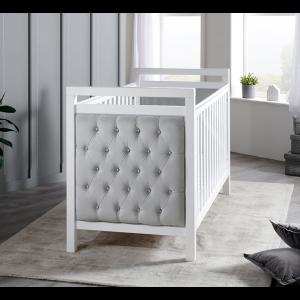 Velvet Deluxe Cot Bed - White with Grey Velvet