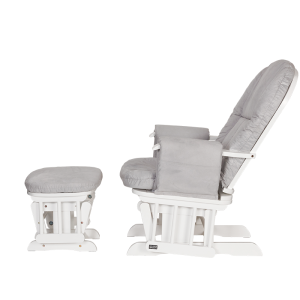 Tutti Bambini Reclining Glider Chair And Stool- White Grey