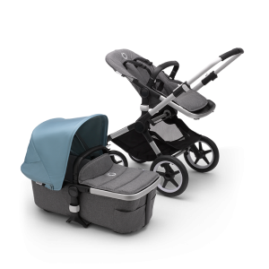 Bugaboo Fox² Complete Pushchair Bundle- Aluminium_Grey Melange_Vapor Blue