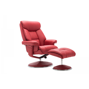 Biarritz Nursing Chair- Swivel Recliner and Footstool- Cherry Plush