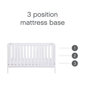 Tutti Bambini Malmo 3 Piece Nursery Room Set With Cot Top Changer- White and Dove Grey
