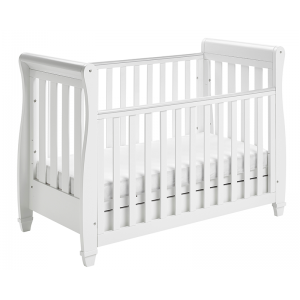 Eva Sleigh Cot Bed Dropside with Drawer - White