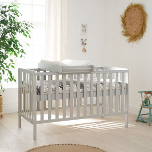 Tutti Bambini Malmo Cot Bed with Cot Top Changer And Mattress- Dove Grey