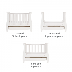 Tutti Bambini Katie Sleigh Mini Cot Bed With Under Bed Drawer- White
