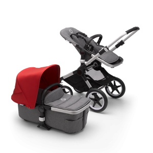 Bugaboo Fox² Complete Pushchair Bundle- Aluminium_Grey Melange_Red