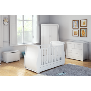 Bel White Room Set 4 PC - Cot, Chest ,Wardrobe & Toy Box