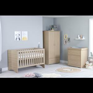 Veni Oak Room Set 3 PC - Cot Bed, Chest & Wardrobe- OAK