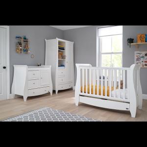 Tutti Bambini Katie 3 Piece Sleigh Nursery Room Set- White