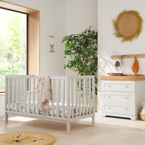 Tutti Bambini Malmo 2 Piece Nursery Room Set With Cot Top Changer- Dove Grey And Oak