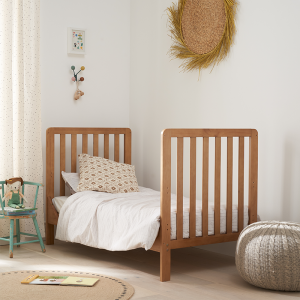 Tutti Bambini Malmo Cot Bed with Cot Top Changer And Mattress- Oak