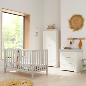 Tutti Bambini Malmo 3 Piece Nursery Room Set With Cot Top Changer- Dove Grey and White