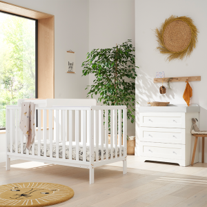 Tutti Bambini Malmo 2 Piece Nursery Room Set With Cot Top Changer- White And Dove Grey
