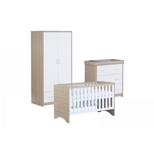 Veni White Oak Room Set 3 PC - Cot Bed, Chest & Wardrobe