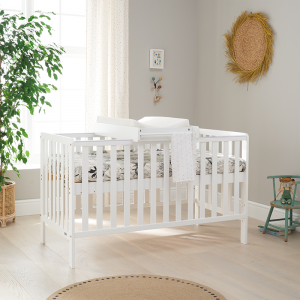 Tutti Bambini Malmo Cot Bed with Cot Top Changer And Mattress- White