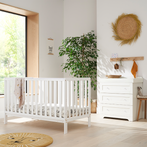 Tutti Bambini Malmo 2 Piece Nursery Room Set With Cot Top Changer- White