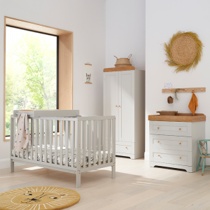 Tutti Bambini Malmo 3 Piece Nursery Room Set With Cot Top Changer- Dove Grey and Oak