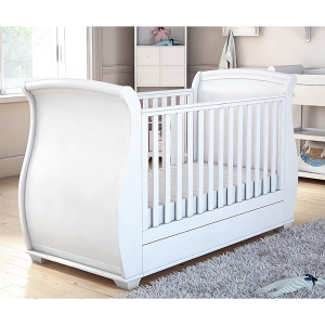 Bel Sleigh Cot Bed Dropside with Drawer - White Finish