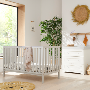 Tutti Bambini Malmo 2 Piece Nursery Room Set With Cot Top Changer- Dove Grey and White