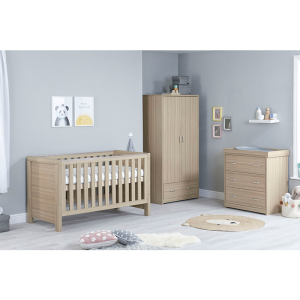 Luno Oak Room Set 3 PC Plus - Cot Bed with Drawer, Chest & Wardrobe