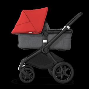 Bugaboo Fox² Complete Pushchair Bundle- Black_Grey Melange_Red