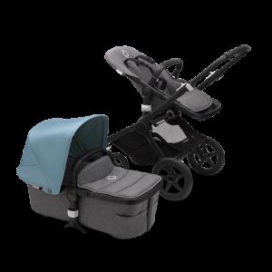 Bugaboo Fox² Complete Pushchair Bundle- Black_Grey Melange_Vapor Blue