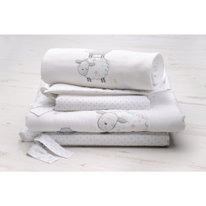 East Coast Counting Sheep 3 Piece Bedding Set- White