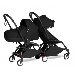 YOYO Complete Double Pushchair for Siblings- Black