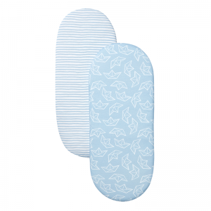 Shnuggle Moses Basket Sheet- Blue