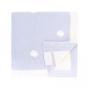 Shnuggle Cotton Knit Blanket- Blue