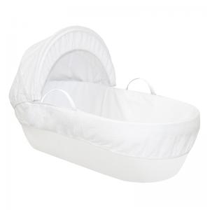 Shnuggle Moses Basket with Cotton Waffle- Pure White