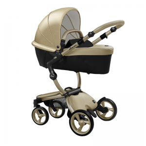 Mima Xari 3 in 1 Pushchair- Champagne Chassis and Pod, Black starter pack
