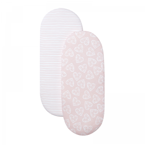 Shnuggle Moses Basket Sheet- Blush Pink